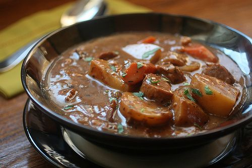 """Porcini """"Beef"""" Stew with Homemade Vegan Sausages recipe--directed to sausage recipe by link"""