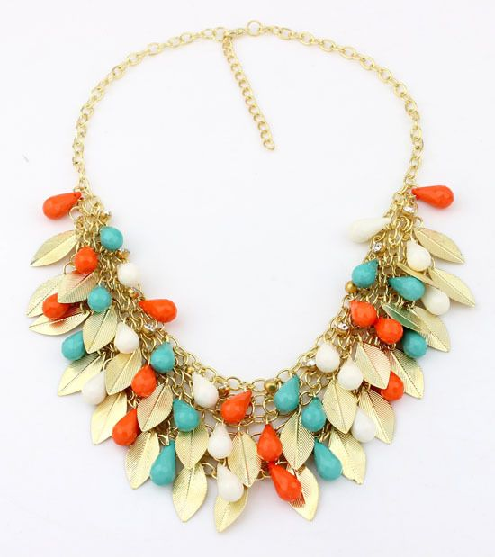 2015 New Women Statement Necklace Link Chain Necklace Bohemia Choker Necklace Bead Leaves pendants Jewelry Trends