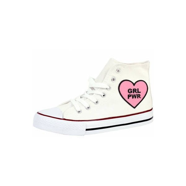 Grl Pwr Hitop Trainers Shoes Sport Sneakers Footwear Casual School... (86 ILS) ❤ liked on Polyvore featuring shoes, sneakers, checkered shoes, pink high tops, heart sneakers, pink high top sneakers and embroidered shoes