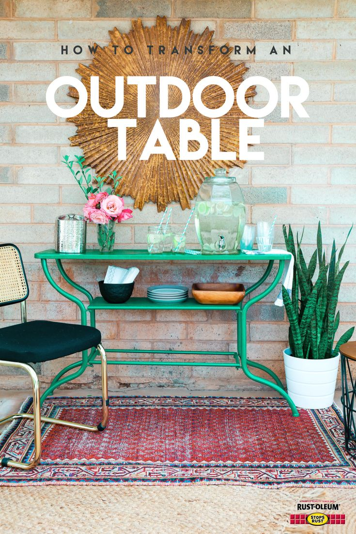 Transform a rusty metal table into an outdoor, party-ready vertical bar cart--just in time for summer. Paint and protect it from the elements with Stops Rust Spray Paint. Learn step-by-step how @hawthandmain did it and DIY for a chance to win $200 in prizes. Visit stopsrust.com/rules for details. Color featured here is Gloss Rich Jade.