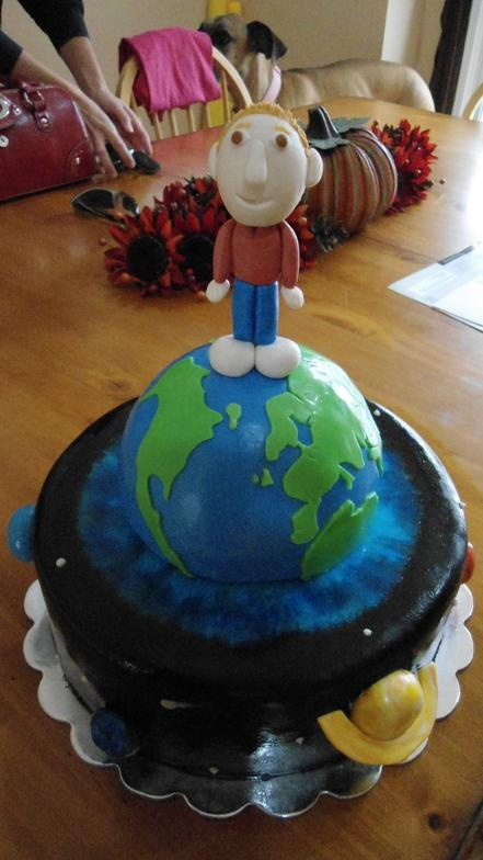 Solar system outer space earth planets boy birthday cake for Cake decorations outer space