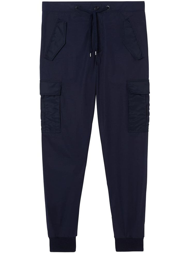BURBERRY BURBERRY COTTON TAPERED CARGO TROUSERS – BLUE. #burberry #cloth