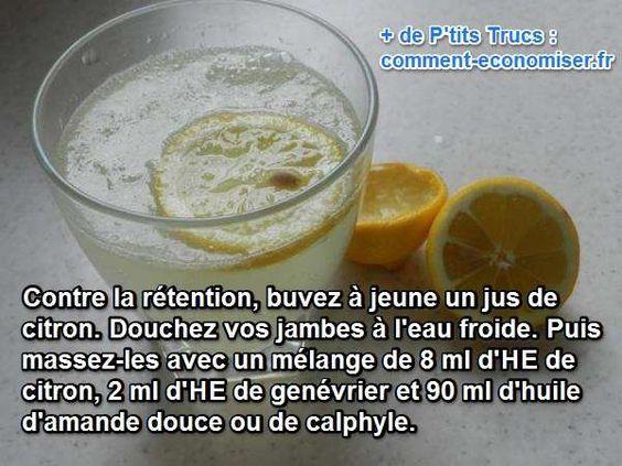 Pour retrouver des jambes légères, il suffit d'un peu de jus de citron, de l'eau froide et de quelques huiles essentielles. Regardez, c'est simple ! Découvrez l'astuce ici : http://www.comment-economiser.fr/retention-eau-remede-efficace-jambes-legeres.html?utm_content=buffer8dc5c&utm_medium=social&utm_source=pinterest.com&utm_campaign=buffer