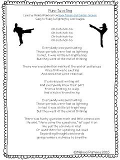 Song to teach punctuation - periods, exclamation marks, question marks, commas.  Punctuation Song lyrics to Kung Fu Fighting.