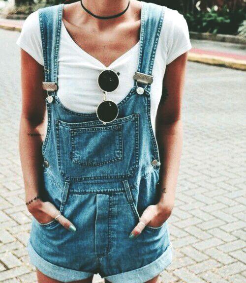 overalls, round shades, basic white tee, choker