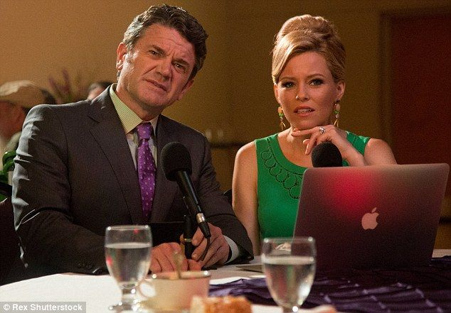 Double duty: The actress and director is shown with co-star John Michael Higgins in a scen...