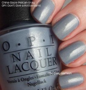 """new O.P.I. color i just tried out, """"I don't give a rotterdam!""""  not a color i would normally try, but I'm really loving it! <3Opi I Dont Give A Rotterdam, Gray Polish China Glaze, Colors, Makeup, Beautiful, Nails Polish, Hair Nails, Glaze Pelican, Pelican Gray"""