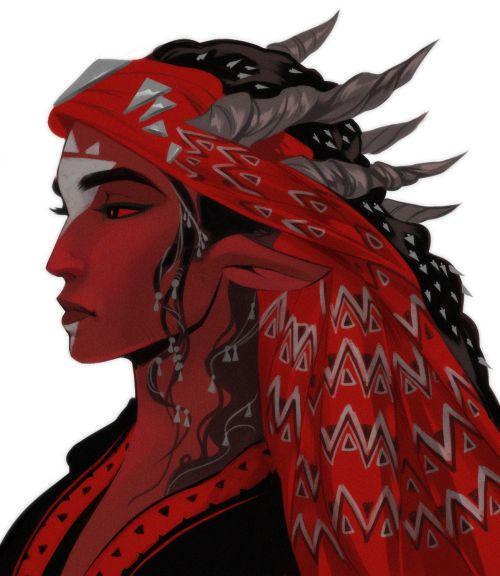 ''Demonslayer'' comics, demonesses sketches, blue + gold, black + red