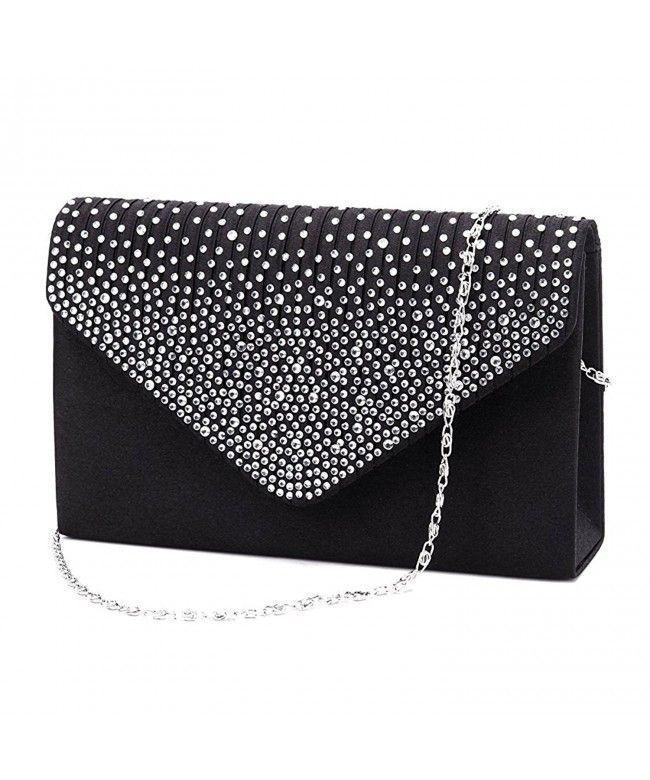 d39c6d832 Women Evening Clutch Purse iSbagy Envelope Rhinestone Frosted Party Bridal  Handbag - Black - C8188U7C8QS #