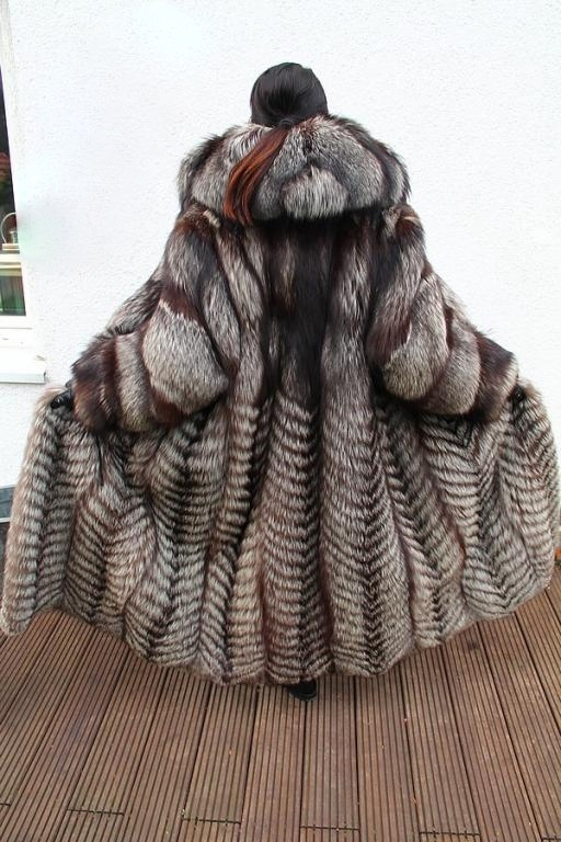 hooded silver fox fur coat, thich & plush. love the pony tail too
