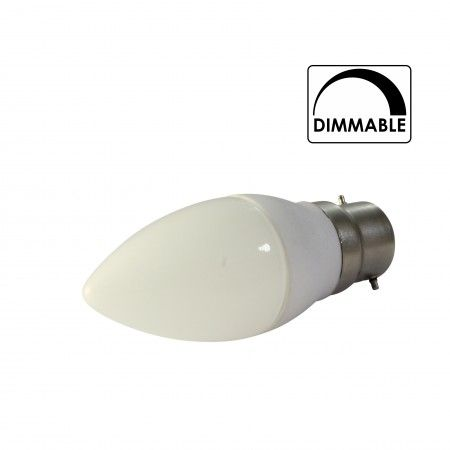 Dimmable Bayonet Candle LED Light Bulb (B22)  Price : £9.99(before) £6.99(current) {in. VAT} Lumens :	300 Voltage :	220-240 Lifetime (hrs) :	50000 Wattage :	3.5W Equivalent to :	40W Colours :	Warm White Fittings : B22 (Bayonet Cap)  Product Page : http://www.convertabulb.co.uk/product/dimmable-bayonet-candle-led-light-bulb-b22/