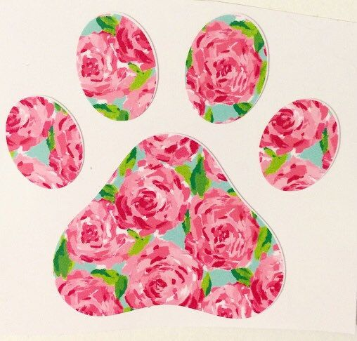 Calling all dog lovers! These Lilly Pulitzer inspired Paw Print decals are the perfect addition to your car, phone, binder, glass, cup,