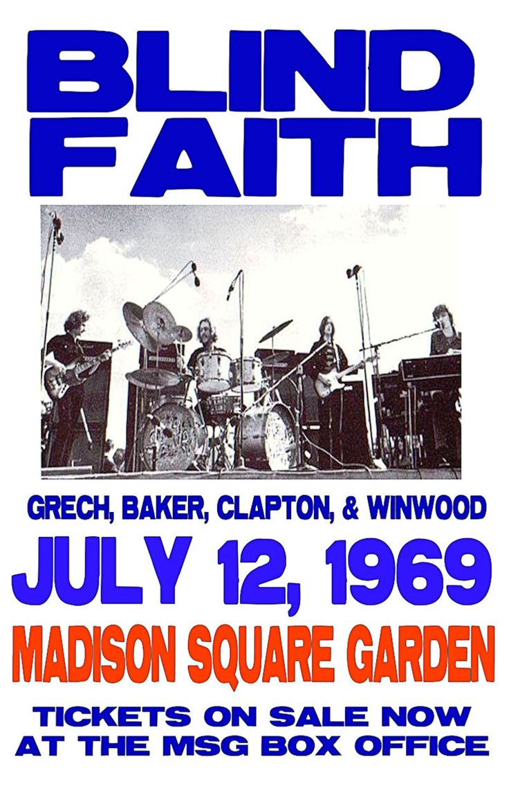 """Blind Faith Concert poster 1969 Madison Square Garden.  • 100% Mint unused condition • Well discounted price + we combine shipping • Click on image for awesome view • Poster is 12"""" x 18"""" • Semi-Gloss Finish • Great Music Collectible - superb copy of original • Usually ships within 72 hours or less with > tracking. • Satisfaction guaranteed or your money back. Sportsworldwest.com"""