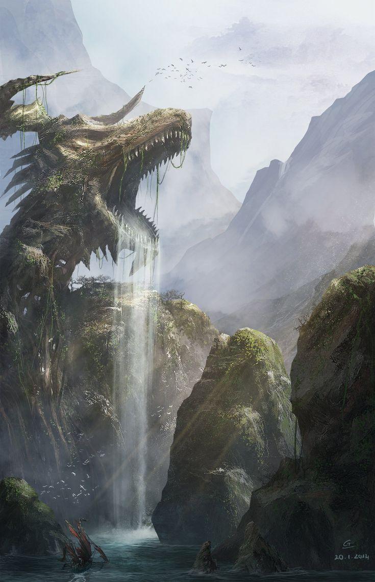 Dragon cave, Giao Nguyen on ArtStation at https://www.artstation.com/artwork/kDmwy