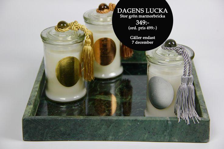 Lucka nr 7! Vacker och praktisk grön marmorbricka 349:- (ord.pris 499:-) Gäller 7 december. www.pexway.se