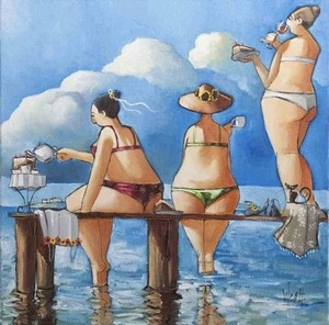 """Tea break on jetti (Only SA)"" Giclee print."