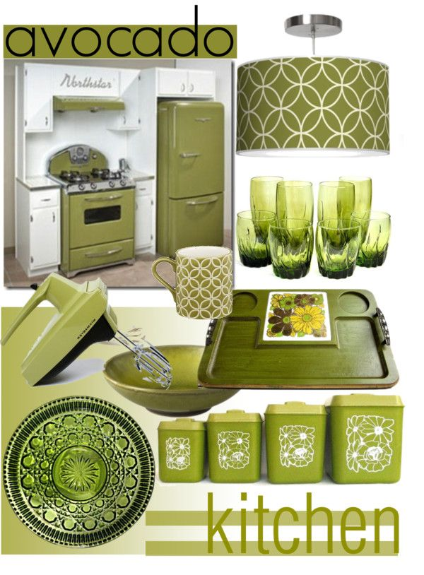 """Vintage Kitchen ~ Avocado, not just a fruit..."" by tiffanysblues on Polyvore"