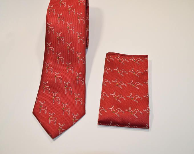 Set Corbata y pañuelo rojo de navidad con dibujos de renos, corbatas para hombre, regalo fiestas de navidad, regalo de San Nicolás, Rodolfo
