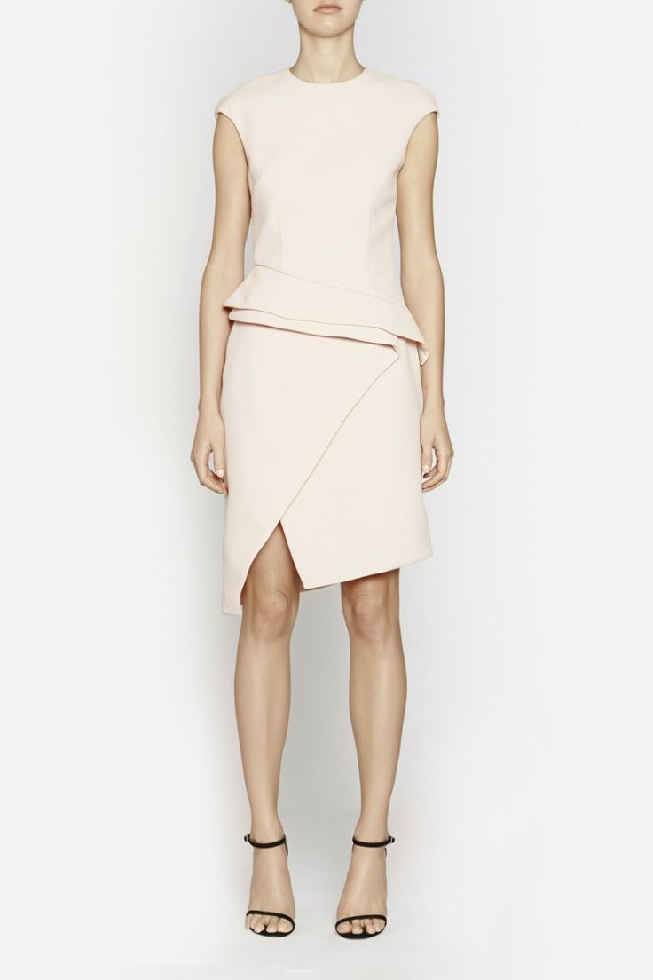 Camilla and Marc | COMPOSITE DRESS  US$566.49 Elegant cocktail dress designed in a white waffle fabric with multi-layered detailing. Created in a tailored and flattering silhouette, this pieces features cap sleeves plus an asymmetrical hemline which fold across the body and create a front split at the thigh. Includes lining and invisible zipper fastening at the centre back.