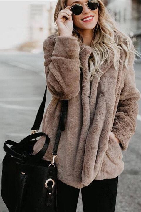 05c5b4d47 Brown Teddy Bear Coat Jackets Outfits Winter. Women's fall fashion street  styles inspiration ideas. Black leggings crossbody bags.
