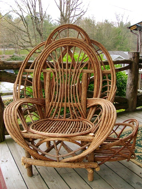 Willow Furniture Would Love To Sit In This Chair And View The Mountainside Woodwork Twig Wicker