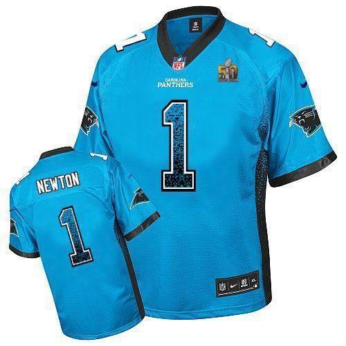 bc958a8e4 ... Nike Carolina Panthers 1 Cam Newton Blue Elite Drift Fashion 2016 Super  Bowl 50 Jersey ...