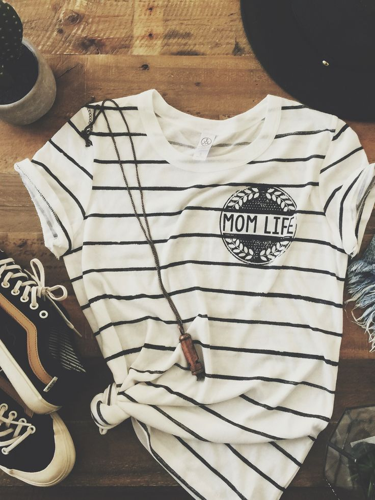 Mom Life Vintage Stripe Tee