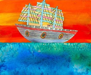 Warm and Cool 3-D Watercolor Ships with Paul Klee -- California History
