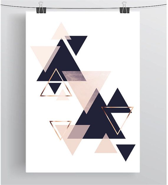 Wall Art Print Digital Poster Navy Blush Art Copper by PrintAvenue