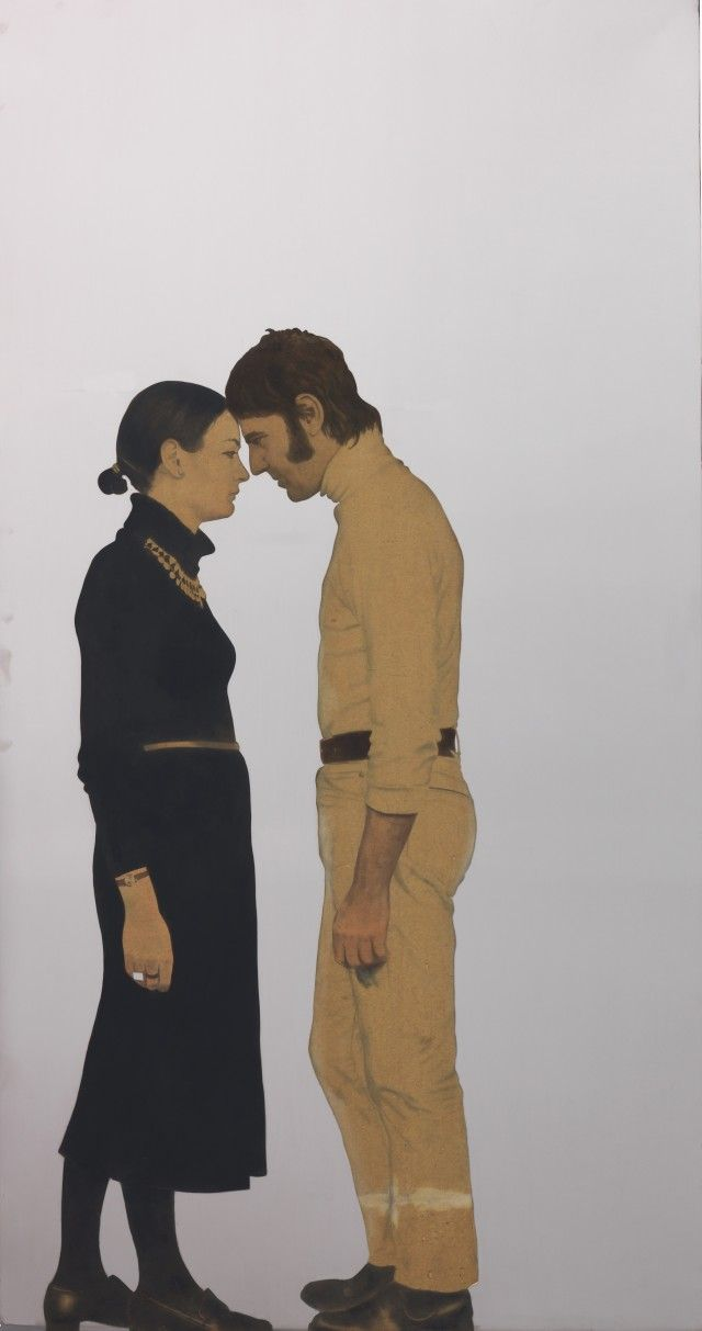Michelangelo Pistoletto, Lei e Lui- Maria e Michelangelo, 1968. Painted tissue paper on polished stainless steel 90⅝ x 47¼ in.