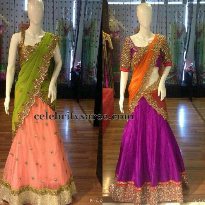 Sequins Lace Latest Half Sarees | Saree Blouse Patterns