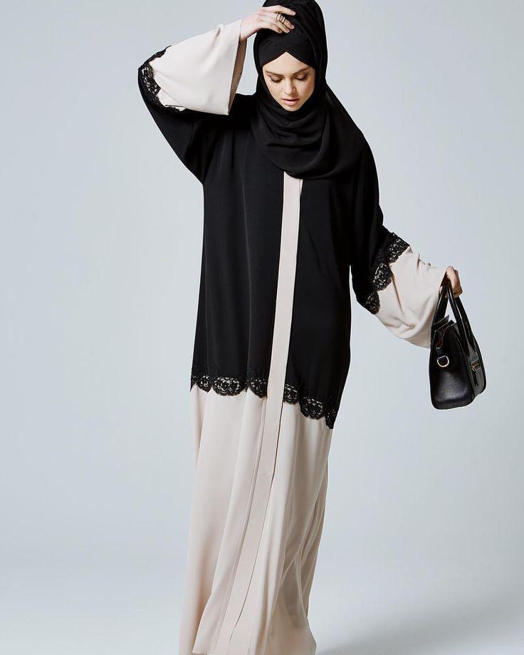 Beautiful Cream & Black combination...-Jubah & Abaya