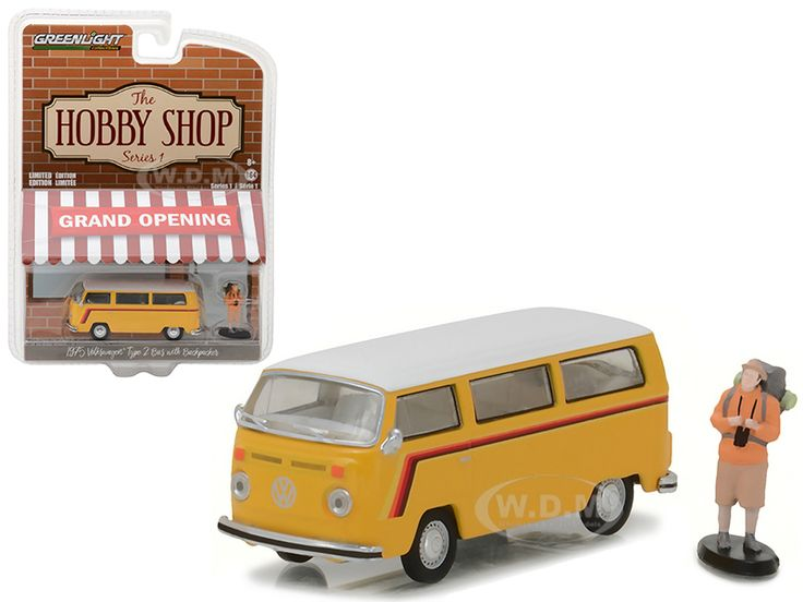 """diecastmodelswholesale - 1975 Volkswagen Type 2 Bus Yellow with Backpacker """"The Hobby Shop"""" Series 1 1/64 Diecast Model Car by Greenlight, $5.99 (https://www.diecastmodelswholesale.com/1975-volkswagen-type-2-bus-yellow-with-backpacker-the-hobby-shop-series-1-1-64-diecast-model-car-by-greenlight/)"""