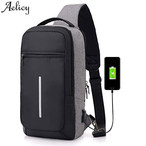 b3967fcc935596 2018 Casual Anti Theft Travel Chest Pack Sling Bag Men Single Shoulder  Strap Cross Body Bags USB Charging Plug Male