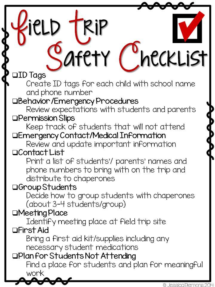 Mrs. Plemons' Kindergarten: Field Trip Planning  Ideas & Checklists **Free**