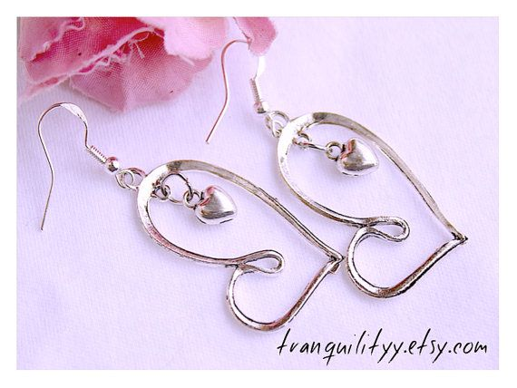 Infinity Heart Earrings Love You Double Heart  by tranquilityy