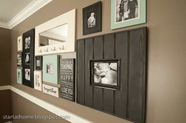 Start at Home: Picture Wall!!Wall Colors, Dining Room, Decor Ideas, Chairs Railings, Living Room, Photos Wall, Picture Walls, Gallery Wall, Pictures Wall