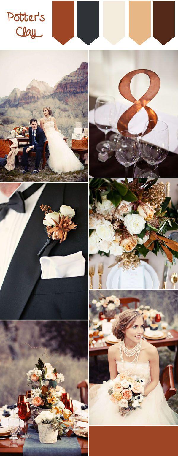 top 10 pantone fall wedding colors 2016-potter's clay elegant wedding