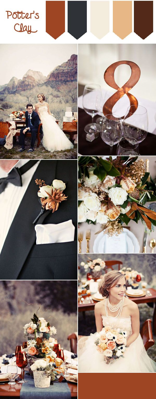 Top 10 Fall Wedding Colors from Pantone for 2016. Potter's clay elegant wedding with a neutral earth tone, awesome for fall and winter weddings.