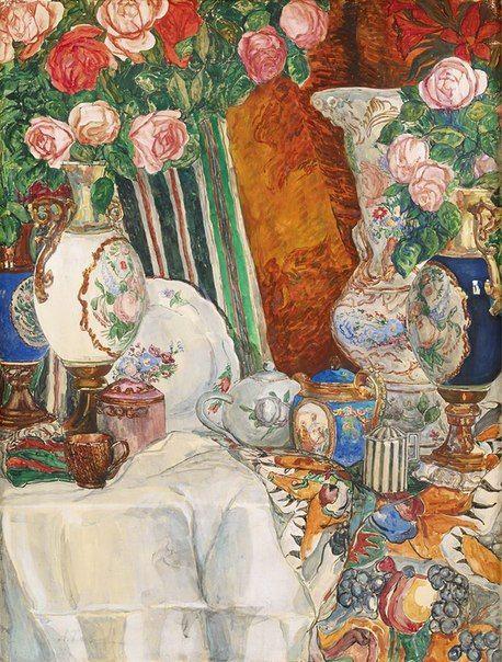 Академия художеств | practicum | ВКонтакте   Александр Яковлевич Головин (1863 - 1930) Натюрморт с фарфоровыми вазами и цветами Гуашь, бумага на картоне, 87.6 х 66.7 см