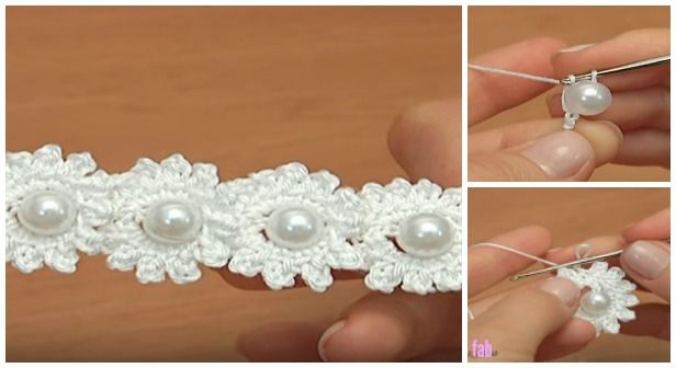 Crochet Mini Bead Flower String Tutorial-Video: How to crochet flower with bead? Crochet bead flower free pattern