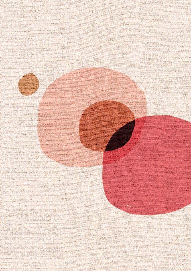 Abstrakte Kreise Kunstdruck zeitgenössisch – Rosa, Pfirsich, Leinen orange
