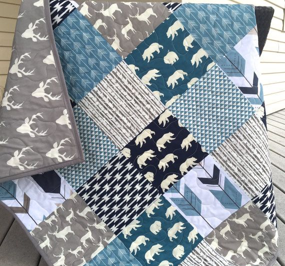 Baby boy bear quilt bears arrows forest birds by QuiltsbyJosephine