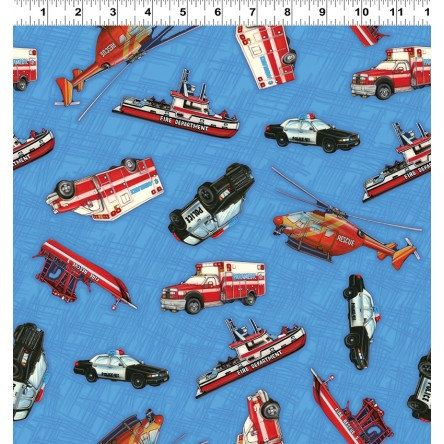 Emergency Vehicles from Clothworks Fabric's Emergency! Collection by Eugene Warren Smith