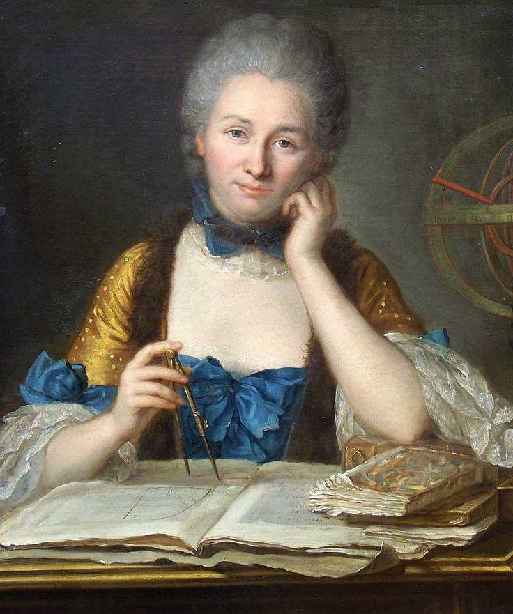 Émilie du Châtelet  —  Gabrielle Émilie Le Tonnelier de Breteuil, marquise du Châtelet, communément appelée Émilie du Châtelet, née à Paris le 17 décembre 1706 et morte à Lunéville le 10 septembre 1749, est une mathématicienne et physicienne française. Elle est aussi restée célèbre pour être l'auteur de la traduction en français des Principia Mathematica de Newton qui fait toujours autorité aujourd'hui. [par Quentin de La Tour]