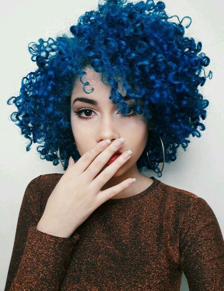 Blue Hair Dye Ideas For Curly Hair