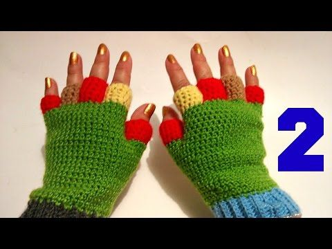 GUANTE DE LANA TEJIDO CROCHET ,PARTE 1/HOW TO KNIT HALF FINGER GLOVES - YouTube