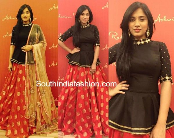Designer Ashwini Reddy in a silk brocade lehenga teamed up with classic peplum top.
