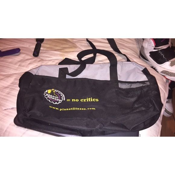 Planet Fitness Duffle Bag Great condition / slightly dirty / CAN be cleaned ; Planet Fitness Gym logo ; very spacious ; cross-body strap included ; price negotiable *WILL NOT CLEAN BEFORE SHIPMENT* Planet Fitness Bags Travel Bags