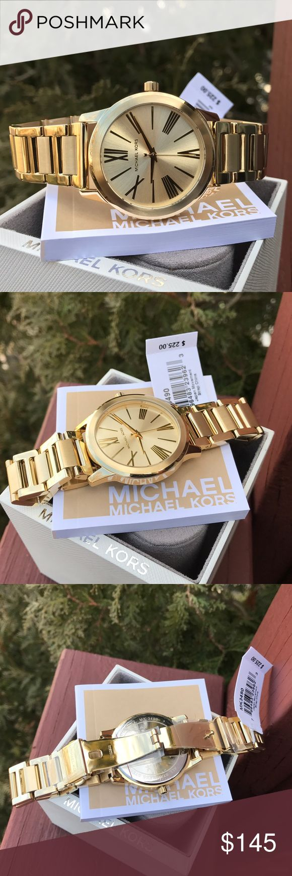 New Michael Kors Hartman MK bracelet watch MK3490 LAST 1! Guaranteed Authentic MK3490 * Model: Hartman                                                                             * Retail: $225 / Gold stainless steel band. * Gold roman engraved dial  * New with Michael Kors watch case and owners booklet included  * 38mm  * 5 ATM  * UPC: 796483239623 * WHAT A BEAUTY!  * No trades. Buy now or offer only. Shipped same business day Michael Kors Accessories Watches